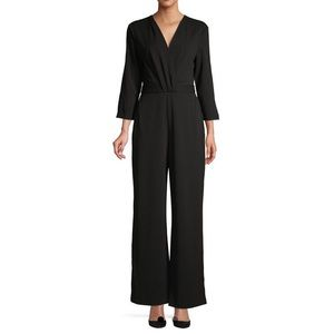 H Halston black wide leg jumpsuit